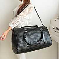 De moda de cuero de la PU de los hombres de lujo de las mujeres bolsa de viaje maleta de 45 cm de alta calidad aeropuerto bolsos de viaje bolsas de tejido Bag4361