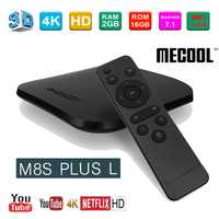 Original MECOOL M8S PLUS TV caja Android 7,1 Amlogic S912 Octa Core 2 GB 16 GB 2,4G WiFi Set top Box 4 K Set-top Box Android TV Box