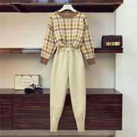 2018 Otoño Invierno pantalones de lana Retro traje de dos piezas conjunto mujeres cuello redondo suéter de cintura elástica + Pantalones de mujer traje