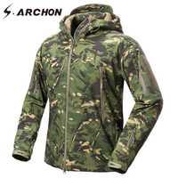S ARCHON nueva cáscara suave de camuflaje militar chaquetas de los hombres con capucha táctico impermeable chaqueta de lana de invierno cálido ejército abrigo