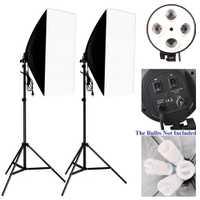 Kit Studio Photo Photographie Éclairage 2 pcs * 4 Support de Lampe À Douille + 2 pcs * 50*70 cm softbox + 2 pcs * 2 m Support De Lumière Photo Boîte À Lumière