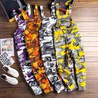 Los hombres camuflaje carga chaquetas hombre Baggy Camo pantalones Hiphop Suspender harem pants Streetwear suelto stap pantalones D81202