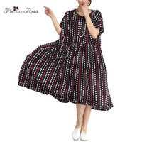 Belinerosa 2018 verano Vestidos mujeres estilo europeo Polka Dot rayas alta cintura suelta vestido en tamaños grandes 5xl 6xl xr000014