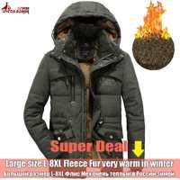 UNCO y BOROR chaqueta de invierno los hombres Outwear transpirable 7XL 8XL cazadora hombre Multi-Bolsillo parka abrigo de lana militar capucha abrigo
