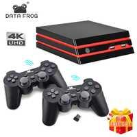 Los datos de la rana juego consola con 2,4G inalámbrico controlador de Video HDMI consola de juego clásico de 600 juegos para GBA familia TV juego Retro