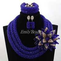 Azul real Declaración Africana determinada Cuentas fijó para el regalo de las mujeres joyería hecha a mano de envío gratis alj641