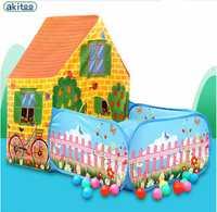 Nueva llegada akitoo super grande tienda para niños casa de juegos interior princesa bebé Casa de juguete gran casa con jardín gran venta