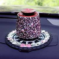 Bling coche hermoso adorno Perfume ambientador de aire del contenedor con cristales para Auto Interior estilo