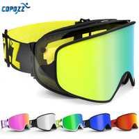 COPOZZ esquí gafas 2 en 1 con magnético de uso Dual de la lente para esquiar de noche Anti-niebla UV400 Snowboard gafas de las mujeres de los hombres de esquí gafas