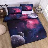 Hogar textil 3D universo espacio exterior temática galaxia estampado estilo ropa de cama Hipster edredón funda de almohada tamaño Queen