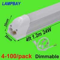 4-100/paquete 4ft 120 cm T5 integrado bombilla lámpara regulable 20 W LED tubo de luz con accesorios superficie montado en la lámpara iluminación lineal