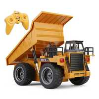 2,4G 6CH de Control remoto de aleación camión de volteo RC camiones de volteo grandes vehículos de ingeniería, camión de arena cargado coche RC juguete para niños regalo