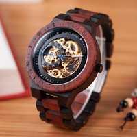 BOBO OISEAU montres en bois Hommes Automatique montre-bracelet mécanique Étanche Mâle forsining en Cadeau Boîte En Bois montre masculino