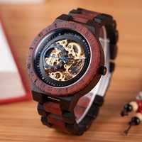 BOBO pájaro relojes de madera hombres mecánico automático reloj de pulsera hombre impermeable forsining en regalo de caja de madera masculino reloj