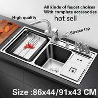 Envío Gratis 304 estándar de acero inoxidable fregadero de la cocina 1mm grande doble a través de hacer los platos 86x44/91x43 CM