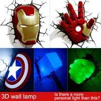 Lámpara de pared creativa 3D de dormitorio de cabecera LED de Los Vengadores de Marvel decorada con luz de noche