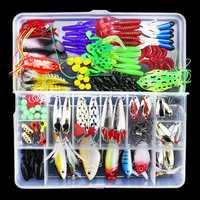 141 piezas mixto duro señuelos cebos Crank Minnow Popper VIB lentejuelas Wobbler señuelo Rana pesca señuelos Kit con caja
