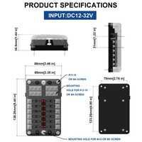 Indicador LED IP56 impermeable hoja caja de fusibles bloque titular ATC ATO 12 vías 250 Amp Car accesorios 2018 nuevo