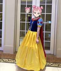 De las mujeres nieve blanca princesa vestido de etapa princesa mujer elegante vestido de terciopelo traje de S-XXL con diadema