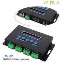 BC-204 Artnet a SPI/DMX controlador de luz de píxeles; entrada de protocolo ethernet; 680 píxeles * 4CH + un puerto (1X512 canales); DC5V-24V