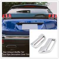 Para Peugeot 3008 5008 Allure 2018 2017 ABS silenciador de escape trasero tubo de extremo trasero cubierta decorativa ajuste accesorios de automóvil 2 unids