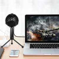 Alloyseed USB Wired micrófono de condensador mesas escritorio micrófono con soporte para juegos en red Red de difusión