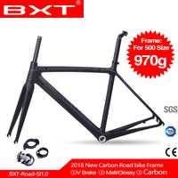 BXT bicicleta de carretera ultraligero marco BSA DI2 marco 500/530/550mm + tenedor + headset carbono marcos de bicicleta