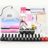 Manicura 12 piezas ultravioleta del Gel Kit de uñas extensión conjunto Nail Art Sets SUN5 48 W UV LED secador de uñas manicura herramientas Kits