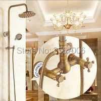 Vintage envío gratis baño grifo de ducha montado en la pared ducha conjunto con cabeza de ducha de lluvia ducha de latón grifo retro GI235