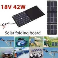 BCMaster Panel Solar plegable fuente de alimentación de emergencia USB duradero + Puerto DC 42 w 18 V cargador de teléfono de luz Solar impermeable