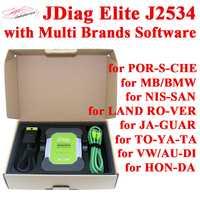 JDiag Elite2 coche herramienta de diagnóstico para MB/PO-R-SCHE/AU-DI/NI-SSAN/TO-YOTA/JA-GUAR J2534 programador con software Libre HDD