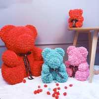 Espuma de oso Rosa flores artificiales rosas de cajas de las mujeres regalo de día de San Valentín de la boda decoración de la fiesta de flores/40/ 20 cm
