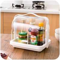 Cocina transparente Flip sobre contenedores para alimentos, baño portátil botiquín caja de almacenamiento de cosméticos