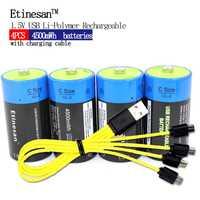 Unids 4 piezas Etinesan 1,5 V 4500MWH batería recargable de polímero de litio tamaño C, batería recargable de iones de litio C + cable de carga USB