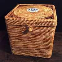 100% caja de almacenamiento hecha a mano de ratán cuadrado Pu 'er caja de pastel de té a prueba de moldes cajas de joyería de lata de té con tapas de comida artículos organizador