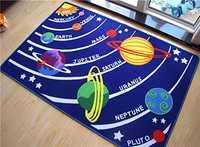 Niños educativos Galaxy planetas estrellas Tapetes Azul Sistema Solar diversión Tapetes niños área Tapetes para sala de juegos y cuarto