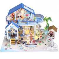 Miniatura Diy casa de muñecas de madera miniatura hecha a mano casas de muñecas Kit de muebles hechos a mano juguetes para niños niñas regalo leyenda mar azul