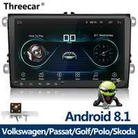 Nuevo 9 pulgadas coche reproductor Multimedia Android 8 GPS de radio 2 Din USB para Volkswagen/VW/Passat /POLO/GOLF/Skoda/asiento/Leon Radio