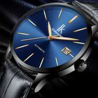 Reloj de pulsera mecánico automático de marca de color IK para hombre, reloj de lujo para hombre, correa de cuero genuino, relojes de vestir para hombre