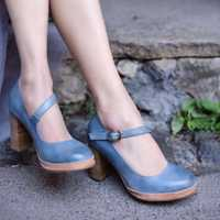 Artmu comodidad los tacones altos de las mujeres de cuero de Mujer Sandalias Zapatos de tacón grueso suave suela de mujer hecho a mano de San Valentín Stiletto