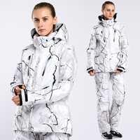 Invierno impresión mujer traje de esquí traje de chaqueta y pantalón ciclismo traje Snowboard ropa caliente suave traje de esquí de las mujeres