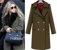 2018 Otoño Invierno mujeres lana abrigo Vintage doble de pecho espesar lana mezcla abrigos señoras Cachemira abrigo