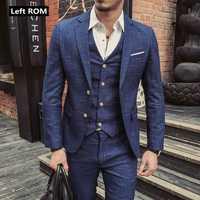 (Veste + gilet + pantalon) 2019 nouvelle Boutique de mode hommes Plaid costume d'affaires formel 3 pièces ensemble/hommes haut de gamme costumes décontractés