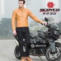 2018 nuevo de scoyco motocicleta montar ropa vaqueros chaqueta motocross moto Racing traje chaquetas pantalones de PU Denim stretch lyca