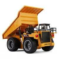 1:18 2,4G 6CH Control remoto aleación camión volquete RC camión volquete grandes vehículos de ingeniería, camión de arena cargado coche RC juguete para niños regalo
