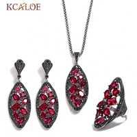 KCALOE conjunto de joyería de Zirconia cúbica de lujo de diamantes de imitación negros Color plata antigua geometría larga conjuntos de joyería de boda para mujer