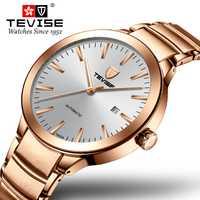 Nuevo reloj automático Tevise, relojes de oro rosa para hombre, reloj de pulsera mecánico con fecha impermeable para hombre