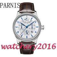 Parnis 42mm dial blanco correa de cuero marrón azul marcadores de la fecha movimiento automático de los hombres