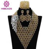 Moda hecha a mano de la trenza oro nupcial indio Cuentas joyería conjunto nigeriano boda collar de la declaración del babero envío libre abk854