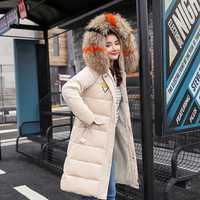 Moda color oro terciopelo tela mujer invierno ropa gruesa suelta algodón largo sección Cuello de piel Chaqueta de algodón abrigo